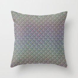 Silver Rainbow Mermaid Scales Throw Pillow