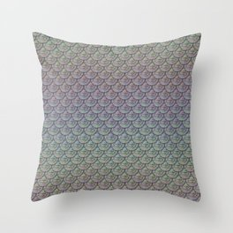 Silver Rainbow Mermaid Scales Throw Pillow