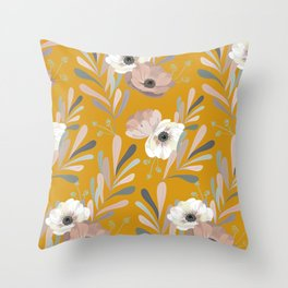 Anemones & Olives Yellow Throw Pillow