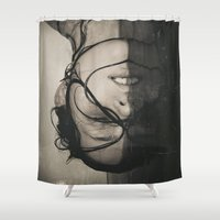 erotic Shower Curtains featuring WHERE WE LAY by Erin Graboski