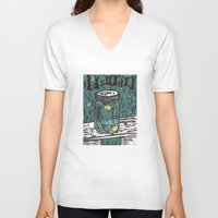 fireflies V-neck T-shirts featuring Catching Fireflies by Heather Powers