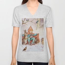 """""""Sheltering From the Cold"""" by Margaret Tarrant Unisex V-Neck"""