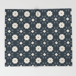 Geometric Floral Dark Blue Throw Blanket