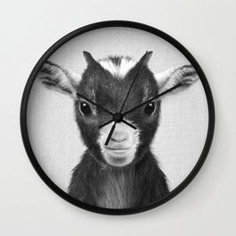 Baby Goat - Black & White Wall Clock