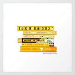 Yellow Book Stack Art Print