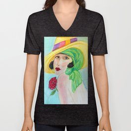 Lady With The Yellow Hat Unisex V-Neck