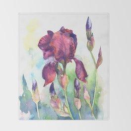 Watercolor iris flowers Throw Blanket