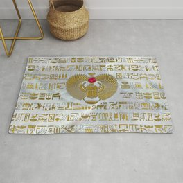 Egyptian Scarab Beetle Gold and Ruby Stone Rug
