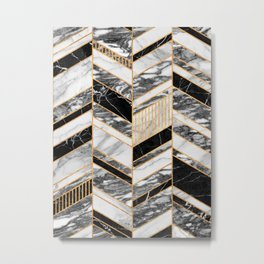 Abstract Chevron Pattern - Black and White Marble Metal Print