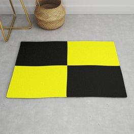 Bright Fluorescent Yellow Neon & Black Checked Checkerboard Rug