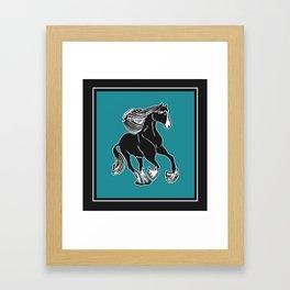 Black & White Horse with Teal Framed Art Print