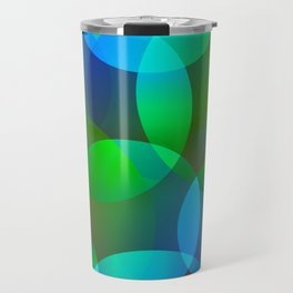 Abstract soap from space yellow and green bright circles and bubbles on a luminous background. Travel Mug