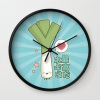 vocaloid Wall Clocks featuring Leeks are Awesome by Lisa Marie Robinson