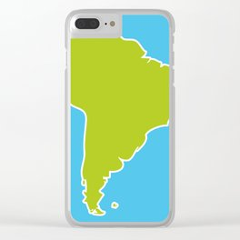 South America map blue ocean and green continent. Vector illustration Clear iPhone Case