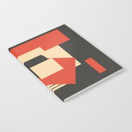 Geometrical abstract art deco mash-up scarlet beige Notebook