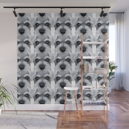 Schnauzer pattern-Grey Dog illustration original painting print Wall Mural