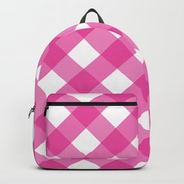 Pink & White Checkered Pattern-Mix and Match with Simplicity of Life Backpack