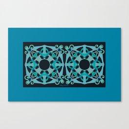 Support Love Mandala x 2 - Teal/Black Canvas Print