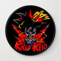dbz Wall Clocks featuring Goku Skull DBZ by offbeatzombie