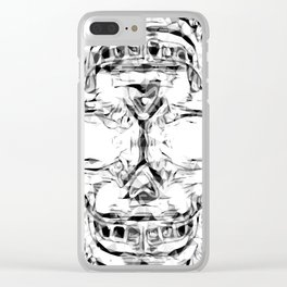 psychedelic skull art geometric triangle abstract pattern in black and white Clear iPhone Case