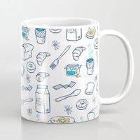 breakfast Mugs featuring BreakfasT by Ceren Aksu Dikenci