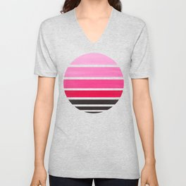 Magenta Mid Century Modern Minimalist Circle Round Photo Staggered Sunset Geometric Stripe Design Unisex V-Neck