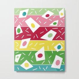 Summer garden geometric stripe pink red green  Metal Print