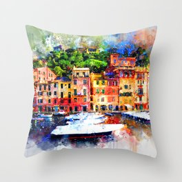Watercolor painting pier Throw Pillow