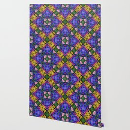 Floral Spectacular: Blue, Plum and Gold - repeating pattern, diamond, Olbrich Botanical Gardens, Mad Wallpaper