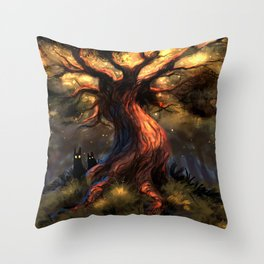 Marvelous Fantasy Woods Tree With Scary Entities Beneath UHD Throw Pillow