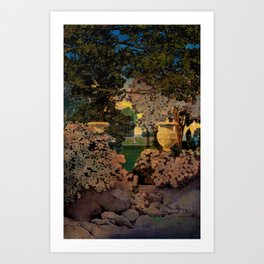 The oaks, the garden of years and other by Maxfield Parrish Art Print