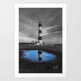 Carolina Blue Sky Puddle at Bodie Island Lighthouse Art Print