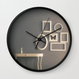 Photo Frames on Wall in Vintage Interior Wall Clock