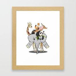 Animal Pile-Up Framed Art Print