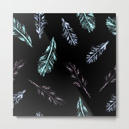 Pencil Feathers Pattern on Black Metal Print