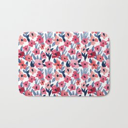 Layered Watercolor Floral Pink and Navy Bath Mat