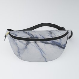 White Marble with Black and Blue Veins Fanny Pack