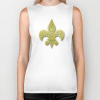 fleur de lis Biker Tanks featuring Gold Fleur De Lis by Riaora Creations