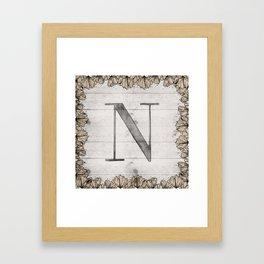 Neutral Monogram N Framed Art Print