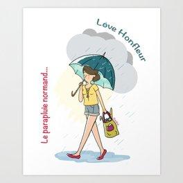 Love Honfleur-Le parapluie normand Art Print