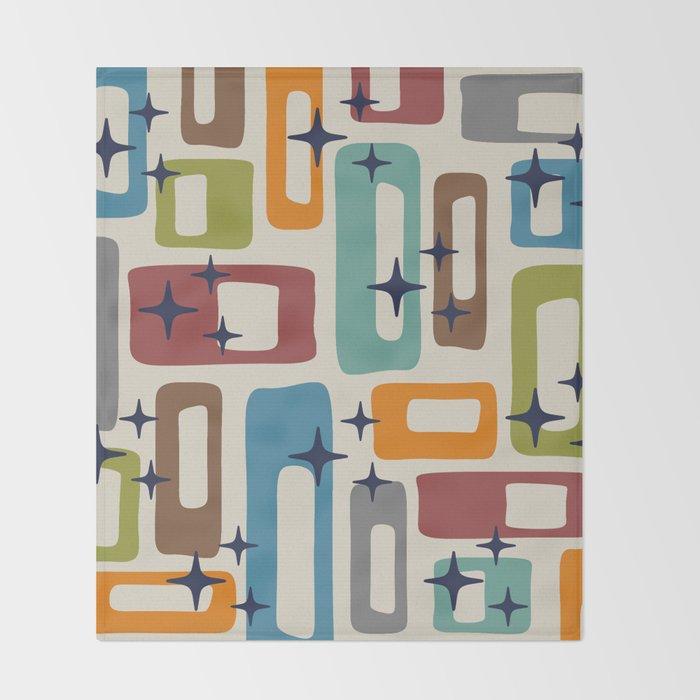 Retro Mid Century Modern Abstract Pattern 224 Throw Blanket