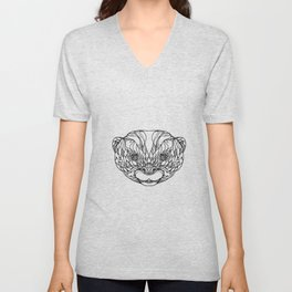 Oriental Small-clawed Otter Doodle Art Unisex V-Neck