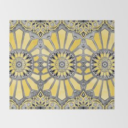 Sunny Yellow Radiant Watercolor Pattern Throw Blanket