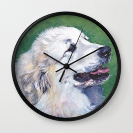 Great Pyrenees dog portrait art from an original painting by L.A.Shepard Wall Clock