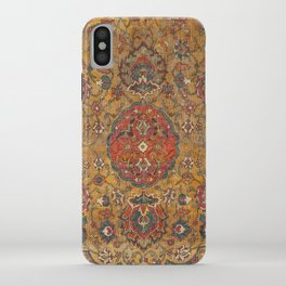 Persian Medallion Rug VI // 16th Century Distressed Red Green Blue Flowery Colorful Ornate Pattern iPhone Case