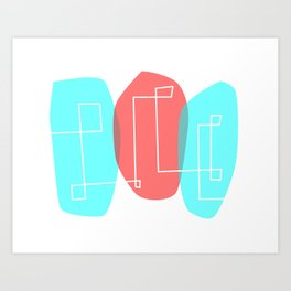 Pink and blue ovoids - abstract design Art Print