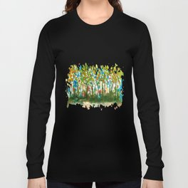 Silent Woods, Abstract Watercolors Landscape Art Long Sleeve T-shirt