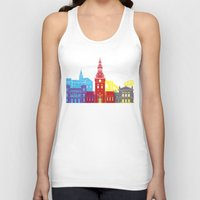 oslo Tank Tops featuring Oslo skyline pop by Paulrommer
