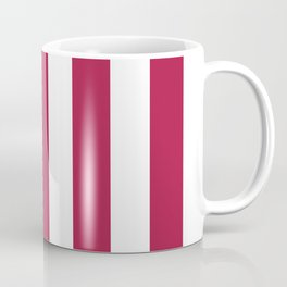 French wine fuchsia -  solid color - white vertical lines pattern Coffee Mug