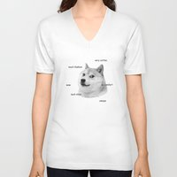 doge V-neck T-shirts featuring Fashion Doge by AMAG